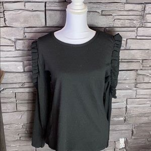 Boohoo Black Cold Shoulder Sweater M/L